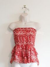 ISABEL MARANT ETOILE print silk strapless top red white elastic ruffle layers 40