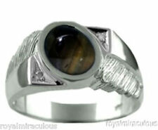 Mens Diamond Ring Black Star Sapphire Sterling Silver or Gold Plated Silver