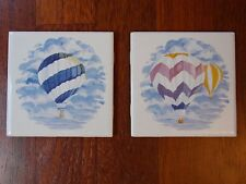 "Lot of 2  Hot Air Balloon Decorative Porcelain Wall Tiles - 4"" Coasters / Trivet"