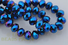 72pcs 8mm Rondelle Faceted Loose Crystal Glass Beads Jewelry Making Blue Plated
