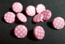 15mm Round Printed Brads Pink with White Spots (Pack of 10)