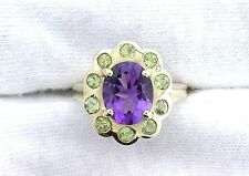 10Kt REAL Yellow Gold Amethyst Peridot Gemstone Gem Stone Ladies Cocktail Ring
