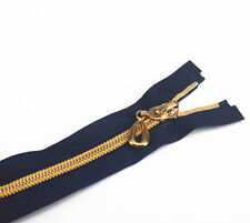 5pc 40cm Length Zippers Navy Open End Metal Gold Teeth Sewing Zippers for Cloth
