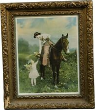 VINTAGE ADVERTISING PRINT IN ORNATE FRAME LOVELY LADY ON HORSE WITH LITTLE GIRL