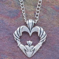 925 sterling silver CELTIC CLADDAGH Charm Irish Love HEART Hand Pendant Necklace