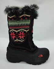 North Face Girls/Kids Shellista Lace Boots A1C5 TNF Black/Sea Coral Orange Sz 11