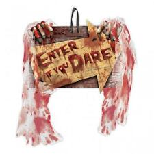 Halloween Creepy Carnevil Bloody Enter If You Dare Wall Sign with Gauze