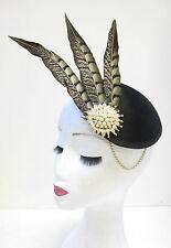 Black Gold Ivory Pheasant Feather Fascinator Headpiece Vintage Races Hat 20s U49
