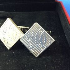 MENS CARTIER STERLING SILVER DOUBLE C CUFF LINKS WITH BOX