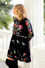 NWT ZARA GENUINE BLACK DRESS EMBROIDERED FLORAL S/26 BLOGGERS RED LAST ONE TUNIC