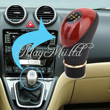 Manual 5-Speed Wooden PU Leather Auto Car Gear Stick Shift Shifter Lever Knob S