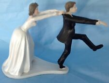 Bride and Groom Cake top funny couple runaway groom