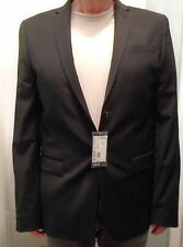 NWT H & M, Black, 2 Button Wool Blend, Well Tailored Sportcoat, Sz 42 Lng (J-29)