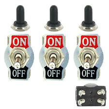 3 X Heavy Duty 20A 125V DPST 4Pin ON/OFF Rocker Toggle Switch Waterproof Boot