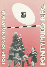 PONTYPRIDD TOUR TO CANADA 1982 WALES RUGBY BOOKLET