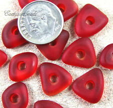 Large Hole (3mm) Cultured Sea Glass Chunky Pebble Mix Beads, Cherry Red 8 Pieces