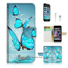 "iPhone 6 (4.7"") Print Flip Wallet Case Cover! Beautiful Butterfly Blue P0225"
