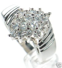 Solid 925 Sterling Silver Clear CZ Cluster Ring Size-6 '