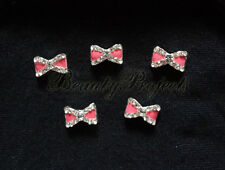 5pcs 3D bow charm rhinestone baby pink nail art charms nails acrylic gel A46