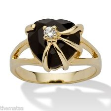 WOMENS 14K GOLD PLATED ONYX BEAUTIFUL HEART SHAPE RING SIZE 5 6 7 8 9 10