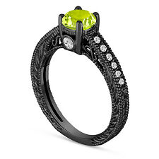 0.70 Carat Green Peridot Engagement Ring, Wedding Ring 14K Black Gold Handmade