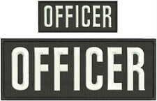 OFFICER embroidery patches 4x10 And 2x5 hook white