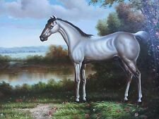 "Horse Portrait On Stretcher Frame Original Hand Painted 20""x 24"" Art Signed"