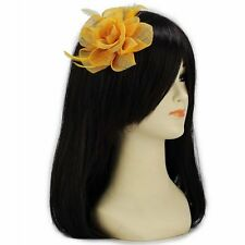 Gold Yellow Flower Fascinator on Hair Clip & Brooch