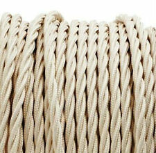 CREAM TWIST vintage style textile fabric electrical cord cloth cable 1m