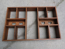 Wall Shelf Wooden Unit Curio Display Case Hearts Vintage Multiple Compartments L