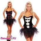 Burlesque Boned Moulin Rouge Corset Fancy Dress Costume Bustier Tutu Skirt