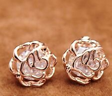 18K Yellow Gold GF Filigree Swarovski Crystal Rose Flower Stud Earrings Gift