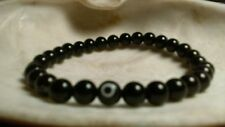 Unisex black Agate evil eye Round 6mm Beaded Stretch Bracelet 7.5'
