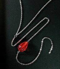 Red Y-Drop Necklace--Ruby Glass Bead on Stainless Steel Chain / July Birthstone