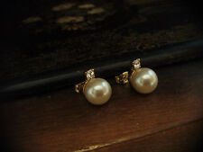 Vintage Gold Plated Pearl and Crystal Stud  Pierced Earrings 10mm