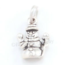small SNOWMAN Christmas Holiday Snow Charm Pendant 925 Sterling Silver cute Tiny