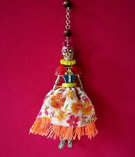 "BETSEY JOHNSON ""CALYPSO BETSEY"" SKULL GIRL SKELETON PENDANT BEADED Y-NECKLACE"