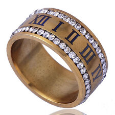 B1453 Shinning Unisex Band Ring 2-Row Clear CZ Yellow Gold Filled Size 10#