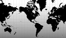 Poster – Black & White Graph Map of the World (Picture Atlas Globe Print Art)
