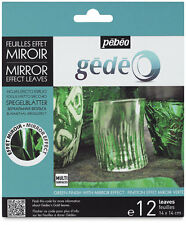 GEDEO GREEN COLOURED MIRROR EFFECT METAL LEAF 12 LEAVES DECORATION GILDING PEBEO