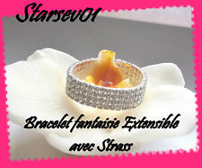 BRACELET FANTAISIE EXTENSIBLE FEMME ARGENTE AVEC STRASS  4 RANG MARIAGE SOIREE