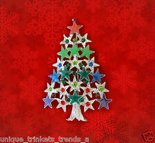VINTAGE STYLE CHRISTMAS STAR TREE MULTICOLOR RHINESTONE & ENAMEL GIFT PIN BROOCH