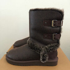 UGG Womens Size 11 Choc Brown Leather Skylah Warm Winter Boots Buckles 1008230