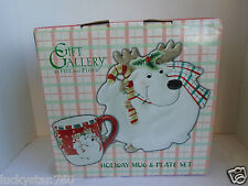 Gift Gallery By Fitz and Floyd Reindeer  Holiday Mug & Plate Set