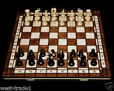 Brand New♞ Hand Crafted Wooden♚ Chess And Draughts Set4 ♟Great Board ♖