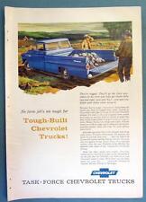 Original 1958 Chevrolet Fleetside Pickup Truck Ad NO FARM JOB IS TOO TOUGH