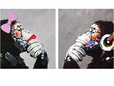 2x A1 CANVAS lady girl  Art Print DJ MONKEY gorilla ape chimp PAINTING DIPTYCH