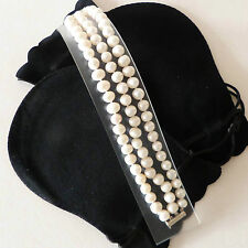Classic Cultured Freshwater Pearl 3 Row Bracelet