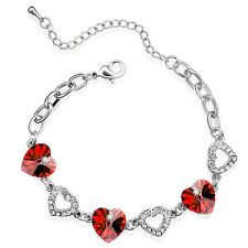 Elegant & Romantic Red Hearts and Silver Crystal Bracelet BB55