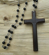 Rosary Large Wooden Cross Crucifix Long Black Beaded & Silver Links Necklace NEW